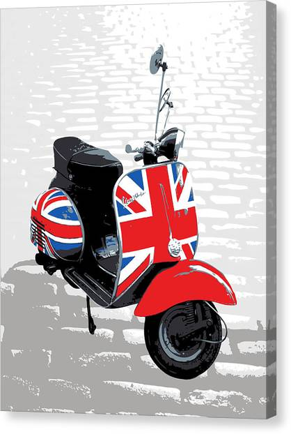 Flags Canvas Print - Mod Scooter Pop Art by Michael Tompsett
