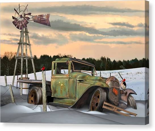 Rusty Truck Canvas Print - Model A Flatbed by Stuart Swartz