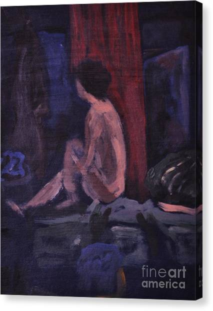 Model In Blue And Red Canvas Print by Reb Frost
