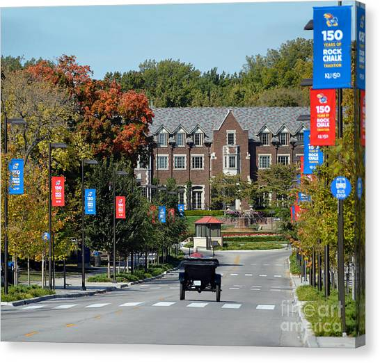 Chi Omega Canvas Print - Model T Cruising Jayhawk Boulevard by Catherine Sherman