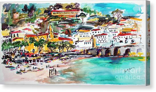Modern Amalfi Watercolor And Ink Painting Canvas Print