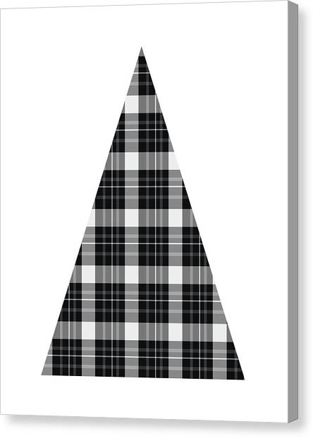 Plaid Canvas Print - Modern Black And White Tree 3- Art By Linda Woods by Linda Woods