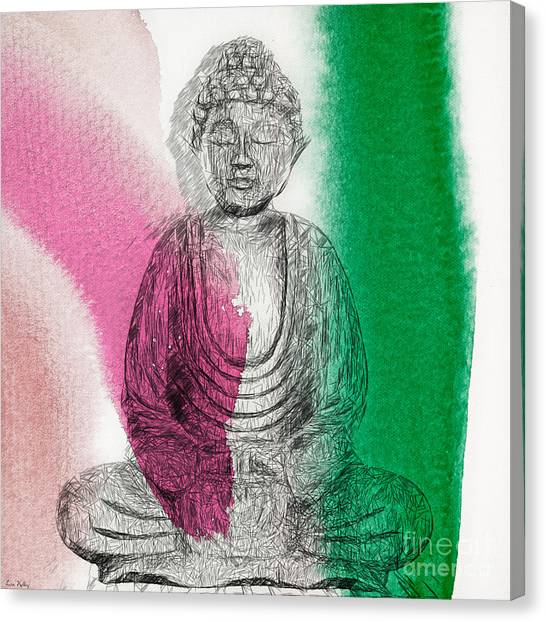 Canvas Print featuring the painting Modern Buddha by Lita Kelley