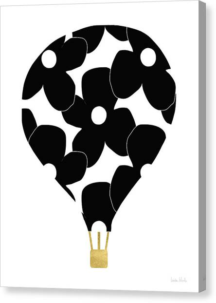 Hot Air Balloons Canvas Print - Modern Floral Hot Air Balloon- Art By Linda Woods by Linda Woods