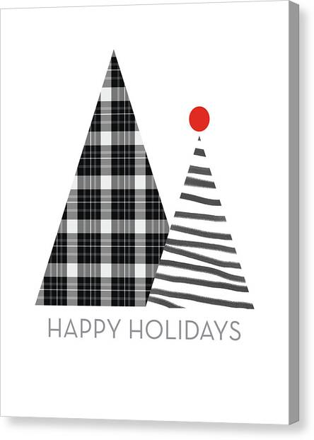 Black And White Canvas Print - Modern Happy Holidays Trees- Art By Linda Woods by Linda Woods