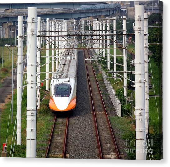 Bullet Trains Canvas Print - Modern High Speed Railway Bullet Train by Yali Shi