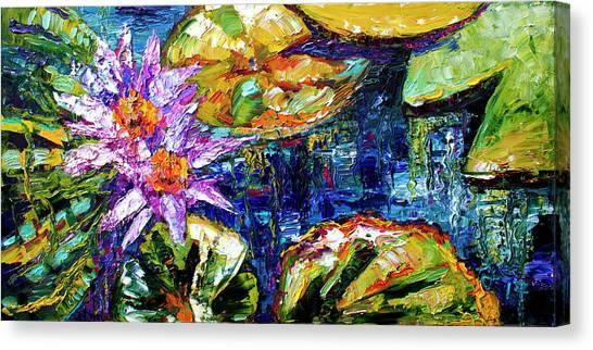 Modern Impressionist Lily Pond Reflections Canvas Print
