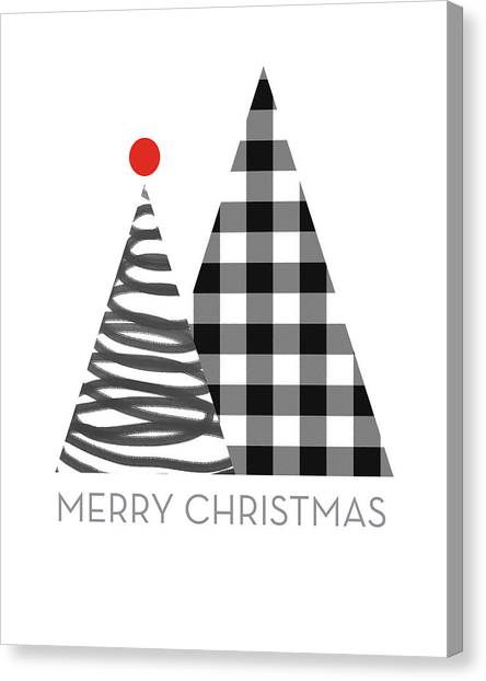 Plaid Canvas Print - Modern Merry Christmas Trees - Art By Linda Woods by Linda Woods