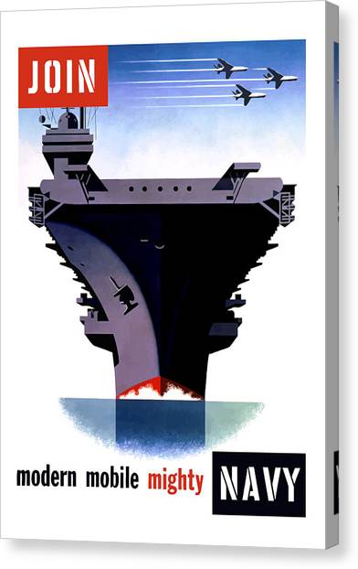 Aircraft Carrier Canvas Print - Modern Mobile Mighty Navy by War Is Hell Store