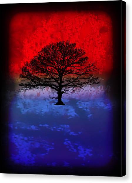 Modern Paintings Abstract Tree Wall Art Canvas Print by Robert R Splashy Art