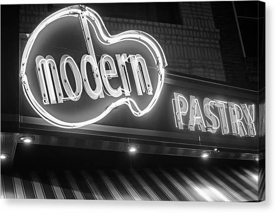 Modern Pastry Shop Boston Ma North End Hanover Street Neon Sign Black And White Canvas Print