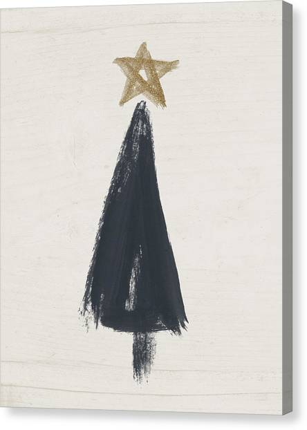 Tree Canvas Print - Modern Primitive Black And Gold Tree 3- Art By Linda Woods by Linda Woods