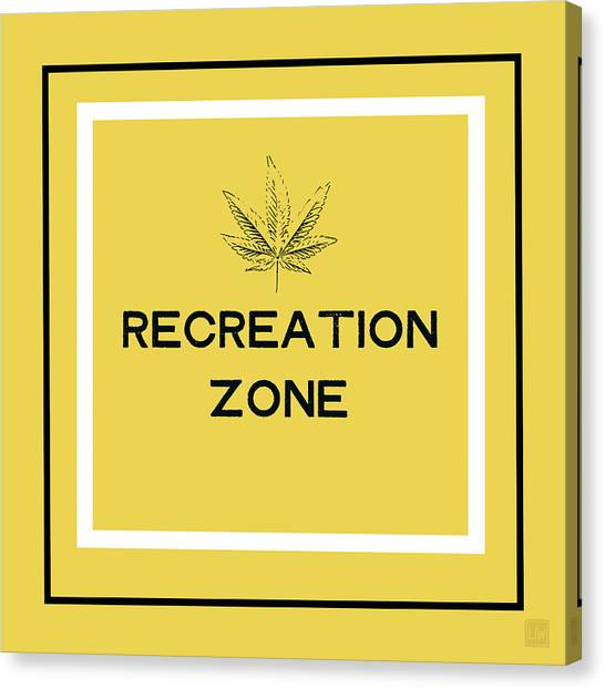 Marijuana Canvas Print - Modern Recreation Zone Sign- Art By Linda Woods by Linda Woods