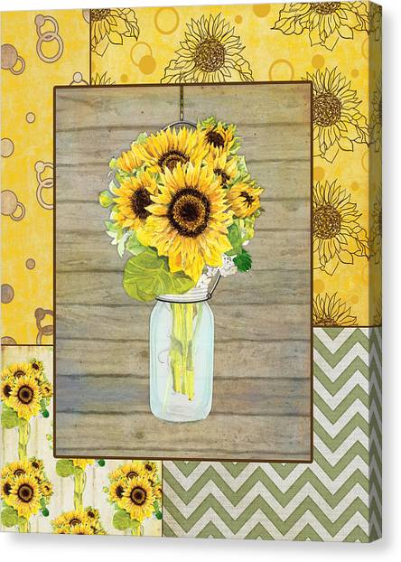 Wedding Bouquet Canvas Print - Modern Rustic Country Sunflowers In Mason Jar by Audrey Jeanne Roberts