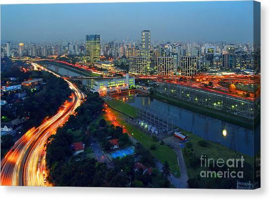 Modern Sao Paulo Skyline - Cidade Jardim And Marginal Pinheiros Canvas Print