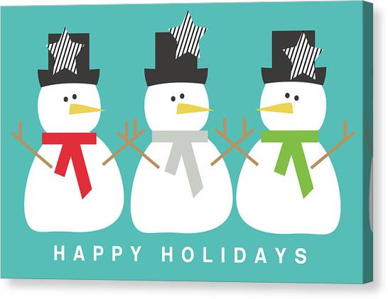 Christmas Canvas Print - Modern Snowmen Happy Holidays- Art By Linda Woods by Linda Woods