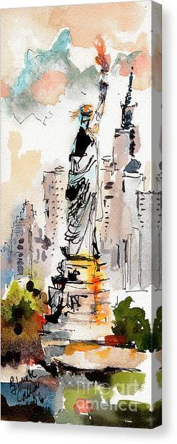 Modern Statue Of Liberty New York Watercolor Canvas Print