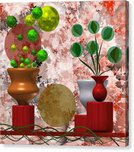 Modern Still Life With Abstract Flowers Canvas Print
