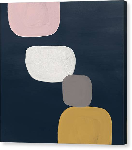 Navy Blue Canvas Print - Modern Stones Navy 1- Art By Linda Woods by Linda Woods