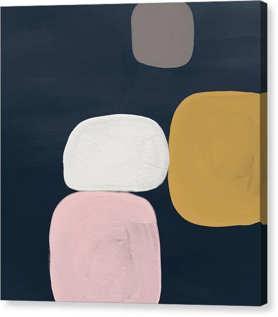 Navy Blue Canvas Print - Modern Stones Navy 2- Art By Linda Woods by Linda Woods