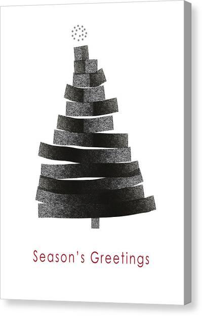 Winter Canvas Print - Modern Winter Tree- Season's Greetings Art By Linda Woods by Linda Woods
