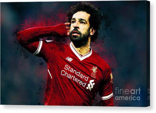 Liverpool Fc Canvas Print - Mohamed Salah Ghaly by Santosa Surya