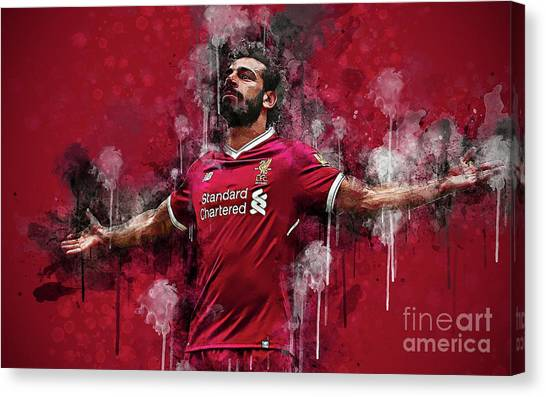 Liverpool Fc Canvas Print - Mohamed Salah by Santosa Surya
