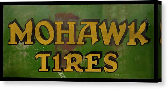 Canvas Print featuring the photograph Mohawk Tires Antique Sign by Chris Flees