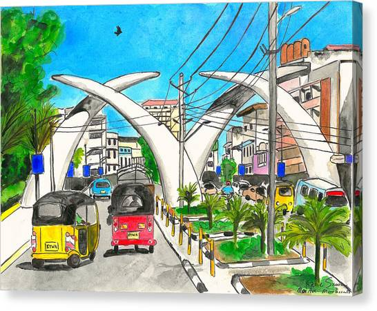 Moi Ave, Mombasa Tusks  Canvas Print