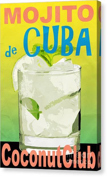Coconut Canvas Print - Mojito De Cuba Coconut Club by Edward Fielding