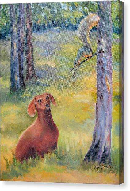 Molly And The Squirrel Canvas Print by Vicki Brevell