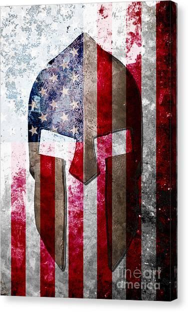 Molon Labe - Spartan Helmet Across An American Flag On Distressed Metal Sheet Canvas Print