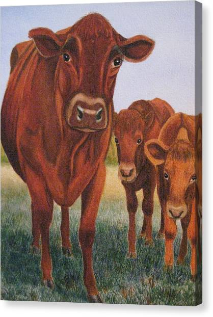 Mom And The Kids Canvas Print by Barbara Pascal
