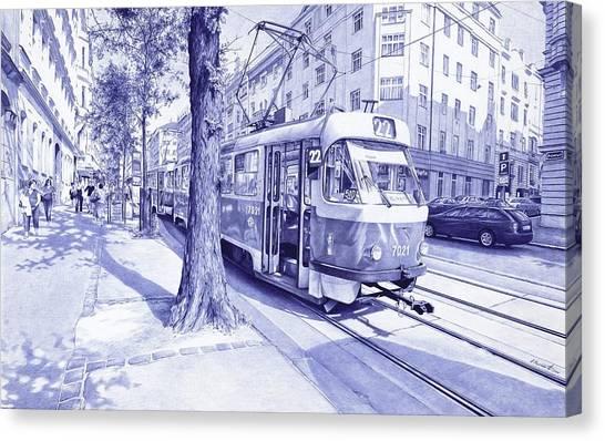 Ballpoint Pens Canvas Print - Moment In Prague - Ballpoint Pen Art by Andrey Poletaev