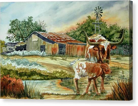 Momma Longhorn And Calf Canvas Print