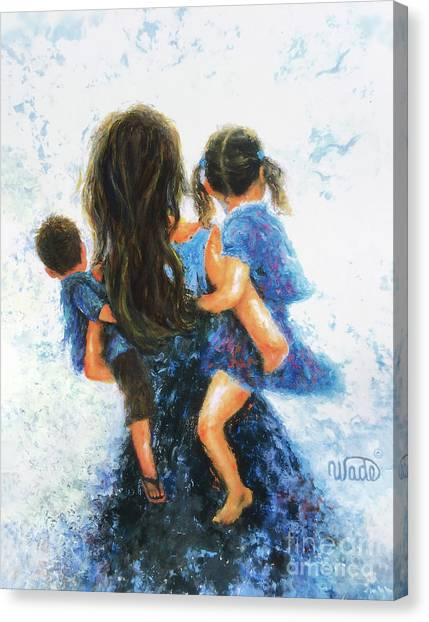 Big Sister Canvas Print - Mommy, Carry Me Too Girl And Boy by Vickie Wade