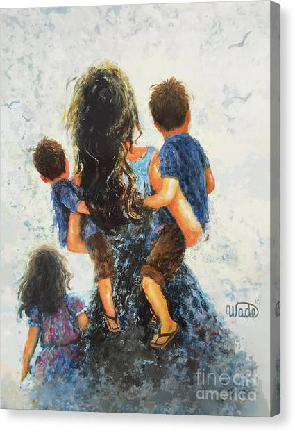 Big Sister Canvas Print - Mommy, Carry Me Too Two Sons And Daughter by Vickie Wade