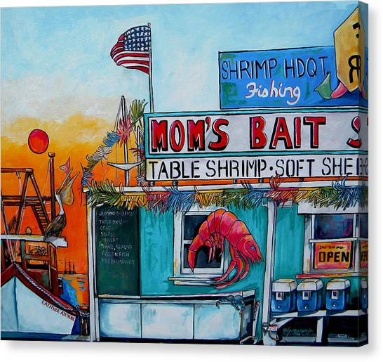 Crabbing Canvas Print - Moms Bait Shop by Patti Schermerhorn