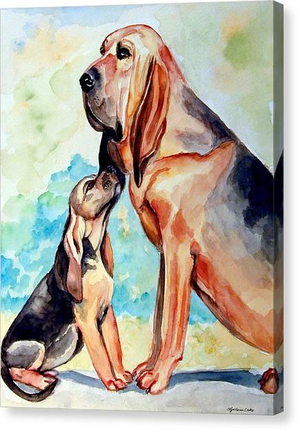 Watercolor Pet Portraits Canvas Print - Mom's Day - Bloodhound by Lyn Cook