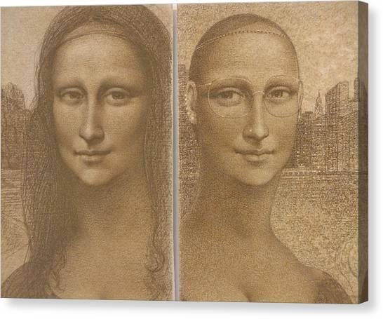 Mona Lisa Past And Present Canvas Print by Gary Kaemmer