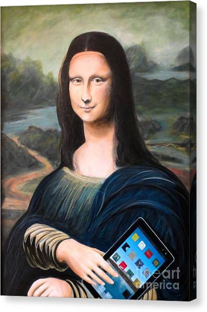Mona Lisa With Ipad Canvas Print
