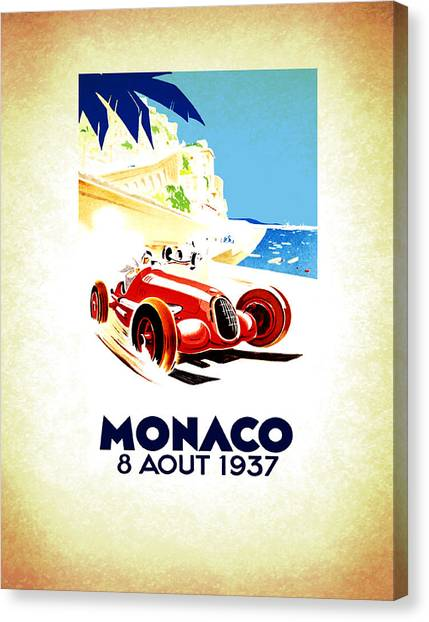 Sports Cars Canvas Print - Monaco 1937 by Mark Rogan