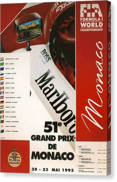 Formula 1 Canvas Print - Monaco F1 1993 by Georgia Fowler