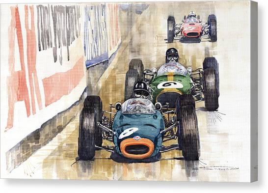 Ferrari Canvas Print - Monaco Gp 1964 Brm Brabham Ferrari by Yuriy Shevchuk