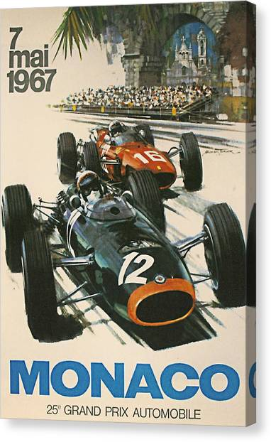 Formula 1 Canvas Print - Monaco Grand Prix 1967 by Georgia Fowler