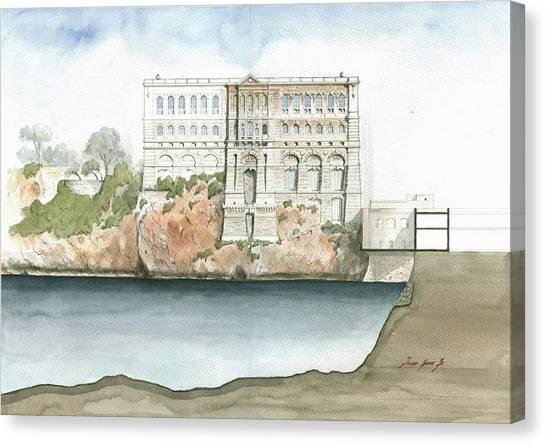 Museums Canvas Print - Monaco Oceanographic Museum by Juan Bosco