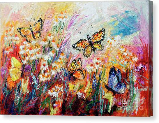 Monarch Butterflies And Chamomile Flowers Canvas Print