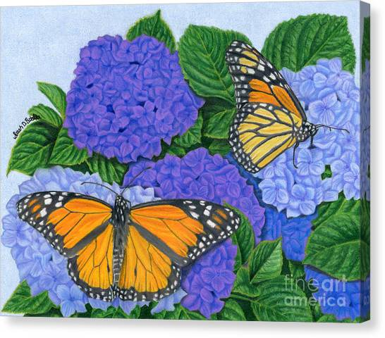 Pairs Canvas Print - Monarch Butterflies And Hydrangeas by Sarah Batalka