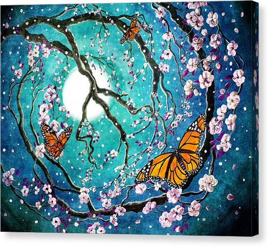 Monarch Butterflies In Teal Moonlight Canvas Print