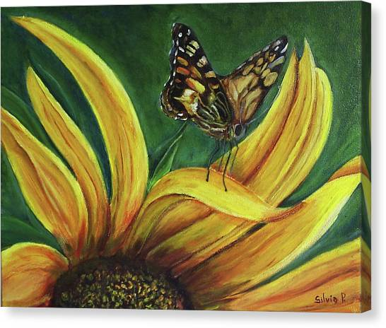 Monarch Butterfly On A Sunflower Canvas Print by Silvia Philippsohn
